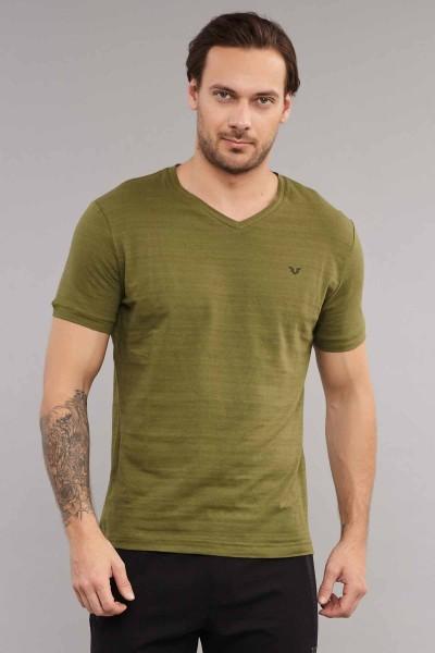 BİLCEE - Bilcee Yeşil Pamuklu Erkek T-Shirt ES-3904