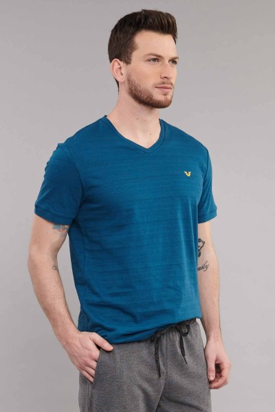 BİLCEE - Bilcee Mavi Pamuklu Erkek T-Shirt ES-3904 (1)