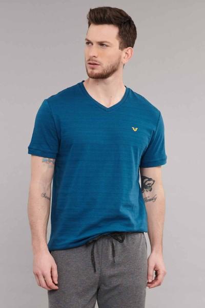 BİLCEE - Bilcee Mavi Pamuklu Erkek T-Shirt ES-3904