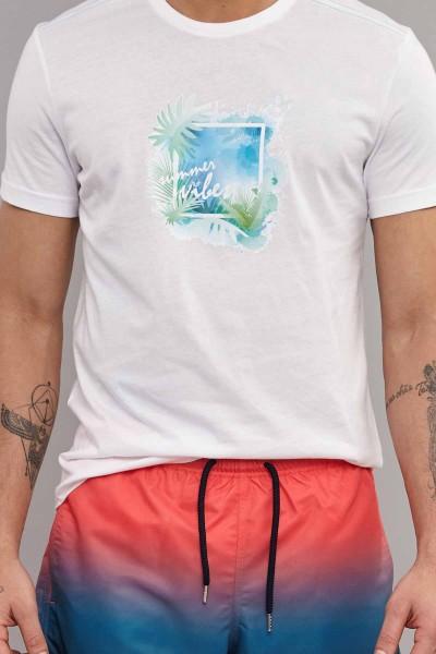 BİLCEE - Bilcee Beyaz Pamuklu Erkek T-Shirt ES-4003