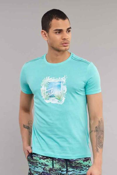BİLCEE - Bilcee Mavi Pamuklu Erkek T-Shirt ES-4003