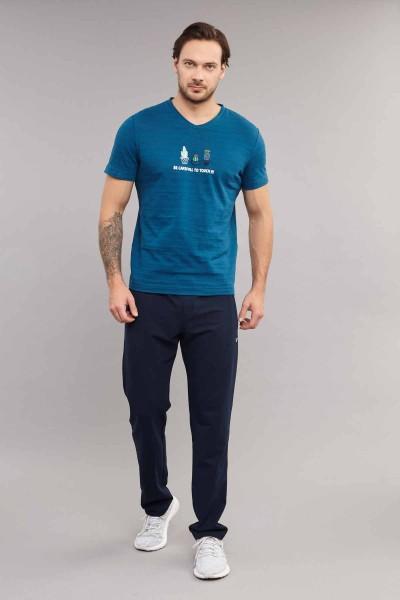 BİLCEE - Bilcee Mavi Pamuklu Erkek T-Shirt ES-4006 (1)
