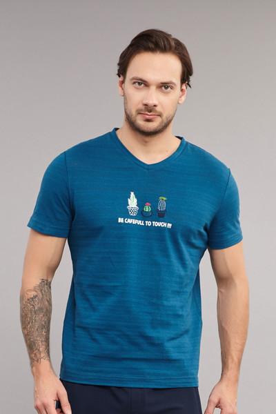BİLCEE - Bilcee Mavi Pamuklu Erkek T-Shirt ES-4006