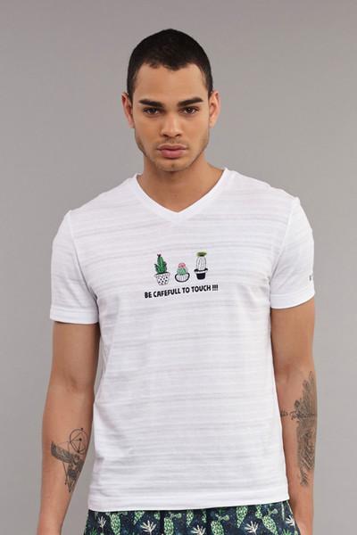 BİLCEE - Bilcee Beyaz Pamuklu Erkek T-Shirt ES-4006