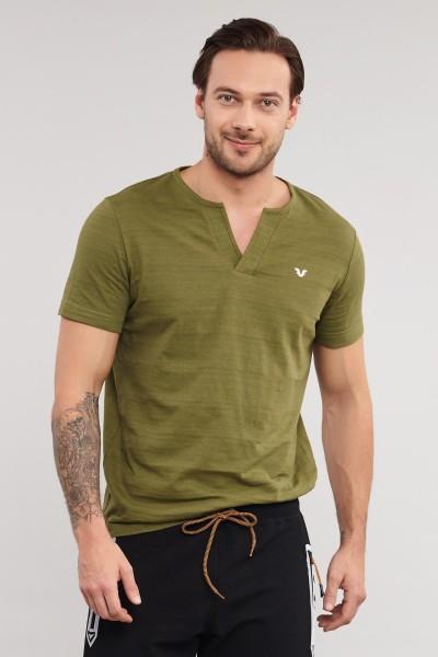 BİLCEE - Bilcee Yeşil Pamuklu Erkek T-Shirt ES-4007