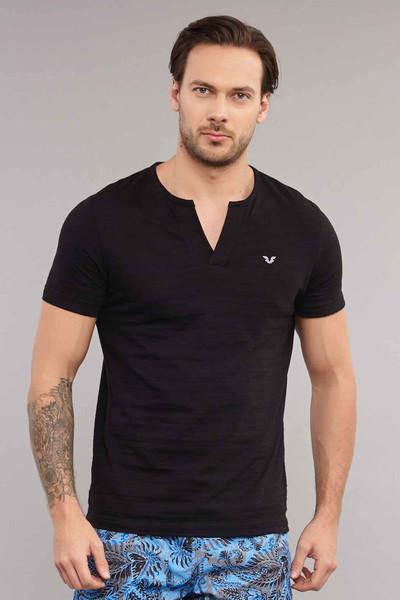 BİLCEE - Bilcee Siyah Pamuklu Erkek T-Shirt ES-4007