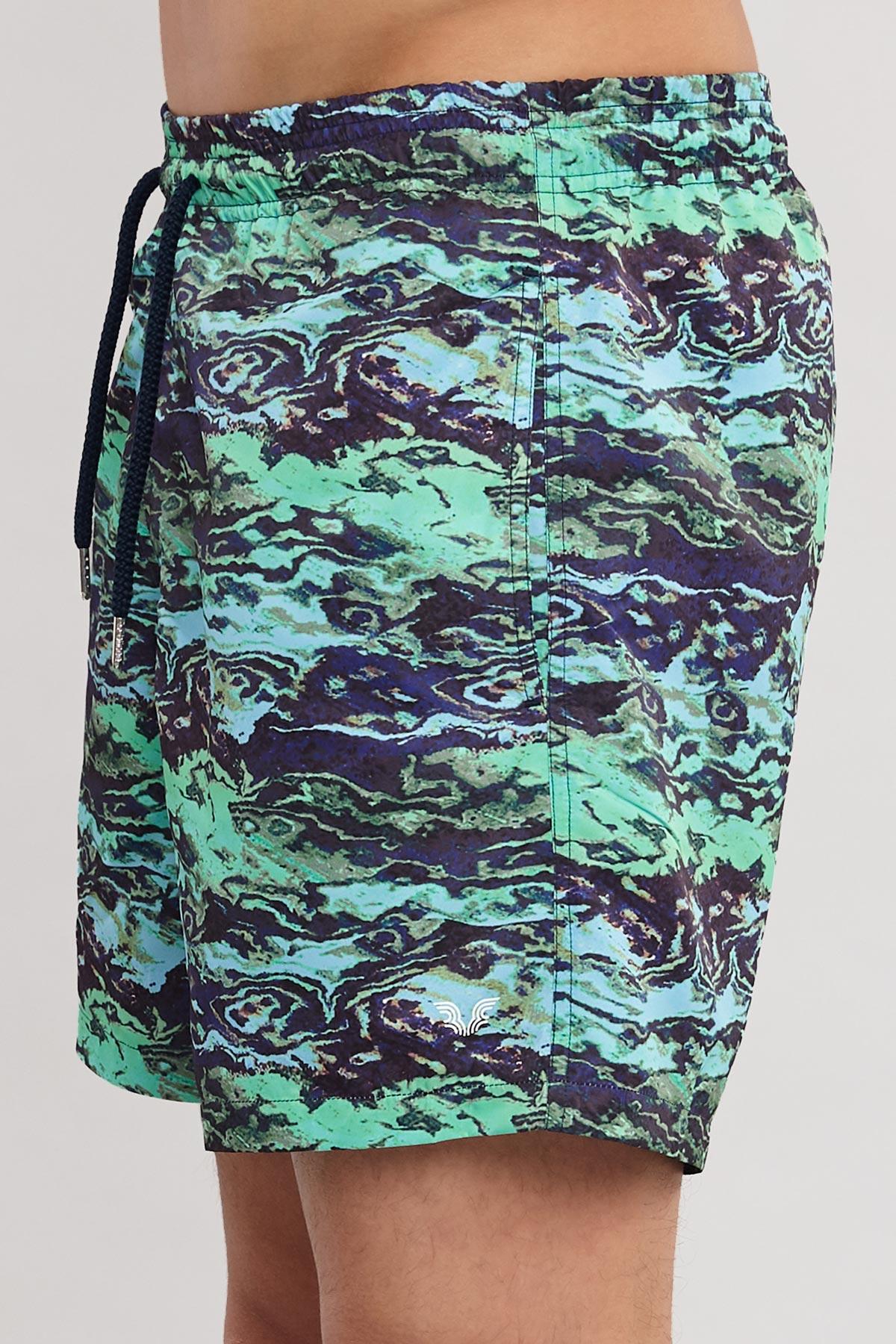 Bilcee Yeşil Erkek Desenli Deniz Şort ES-4018 BİLCEE