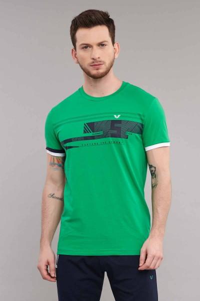 BİLCEE - Bilcee Yeşil Likralı Pamuklu Erkek T-Shirt ES-4058
