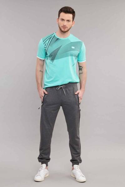 BİLCEE - Bilcee Mavi Likralı Pamuklu Erkek T-Shirt ES-4059 (1)