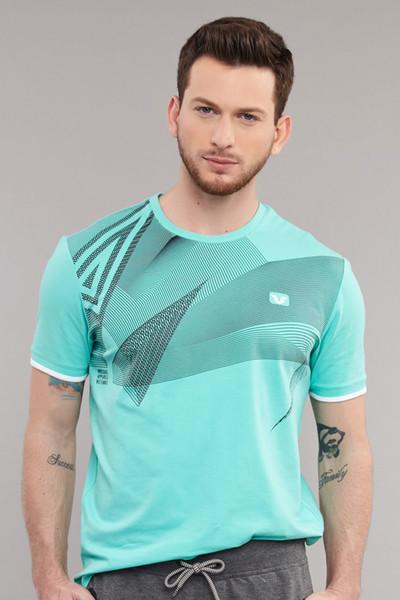 BİLCEE - Bilcee Mavi Likralı Pamuklu Erkek T-Shirt ES-4059