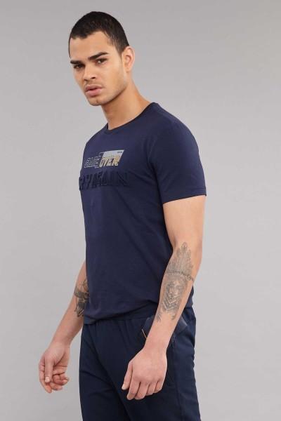 BİLCEE - Bilcee Lacivert Likralı Pamuklu Erkek T-Shirt ES-4063 (1)