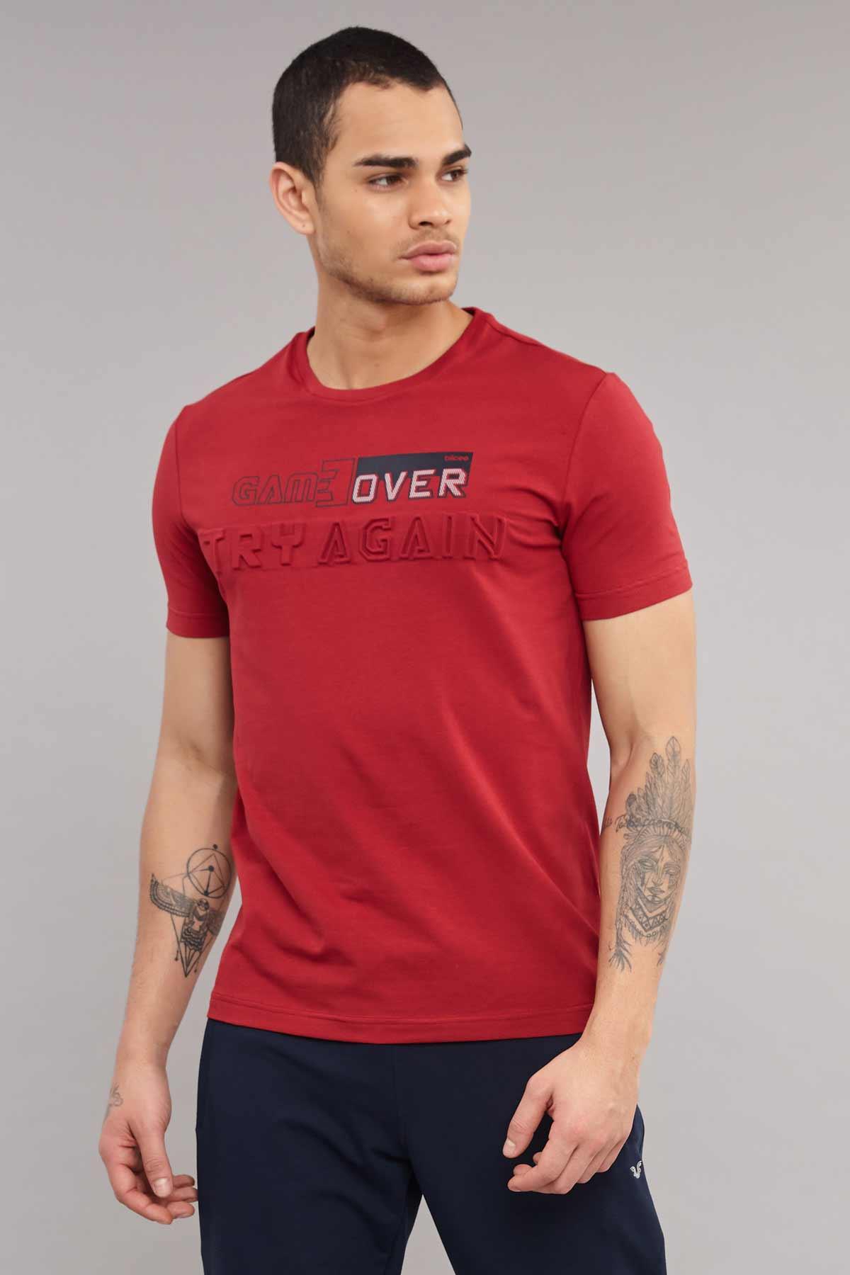 Bilcee Bordo Likralı Pamuklu Erkek T-Shirt ES-4063 BİLCEE