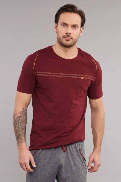 BİLCEE - Bilcee Bordo Pamuklu Erkek T-Shirt ES-4064