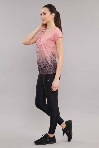 BİLCEE - Bilcee Pembe Pamuk/Poly Kadın T-Shirt ES-4222 (1)