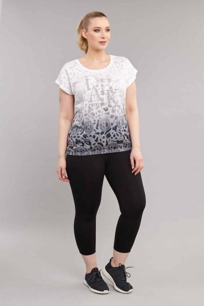 BİLCEE - Bilcee Beyaz Büyük Beden Pamuk/Poly Kadın T-Shirt ES-4223 (1)
