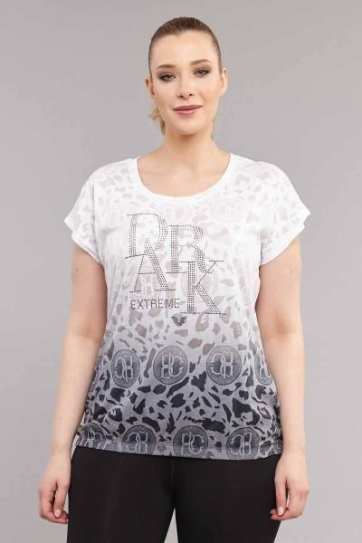 BİLCEE - Bilcee Beyaz Büyük Beden Pamuk/Poly Kadın T-Shirt ES-4223