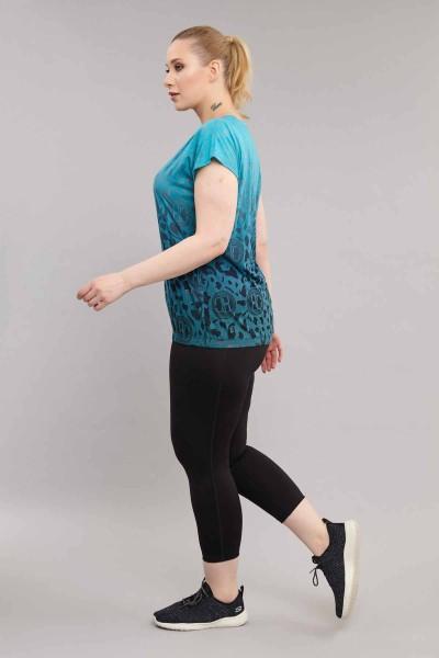 BİLCEE - Bilcee Mavi Büyük Beden Pamuk/Poly Kadın T-Shirt ES-4223 (1)