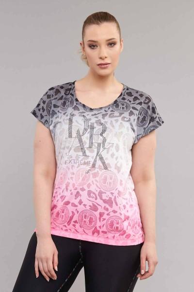 BİLCEE - Bilcee Pembe Büyük Beden Pamuk/Poly Kadın T-Shirt ES-4223
