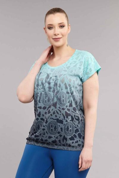 BİLCEE - Bilcee Turkuaz Büyük Beden Pamuk/Poly Kadın T-Shirt ES-4223