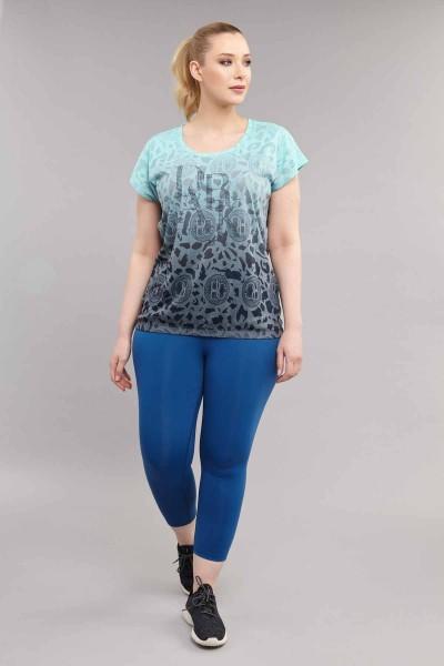 BİLCEE - Bilcee Turkuaz Büyük Beden Pamuk/Poly Kadın T-Shirt ES-4223 (1)