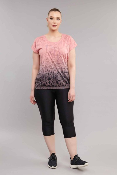 BİLCEE - Bilcee Pembe Büyük Beden Kadın Pamuk/Poly T-Shirt ES-4223 (1)