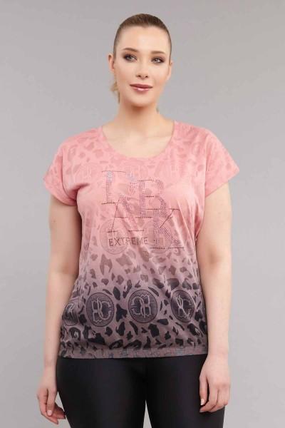 BİLCEE - Bilcee Pembe Büyük Beden Kadın Pamuk/Poly T-Shirt ES-4223