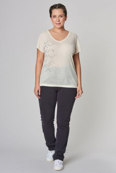 BİLCEE - Bilcee Büyük Beden Krem Kadın T-Shirt CW-9103 (1)