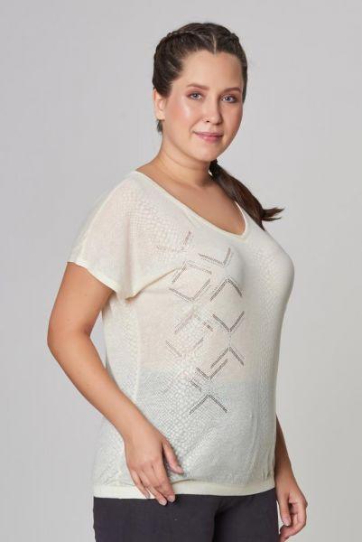 BİLCEE - Bilcee Büyük Beden Krem Kadın T-Shirt CW-9103