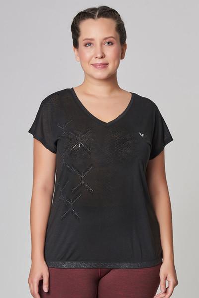 BİLCEE - Bilcee Büyük Beden Siyah Kadın T-Shirt CW-9103