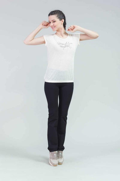 BİLCEE - Bilcee Krem Kadın T-Shirt CW-9113 (1)