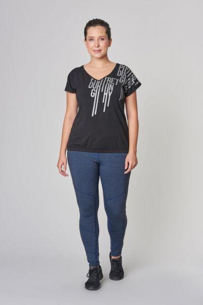 BİLCEE - Bilcee Büyük Beden Siyah Pamuklu Kadın T-Shirt DS-2131 (1)