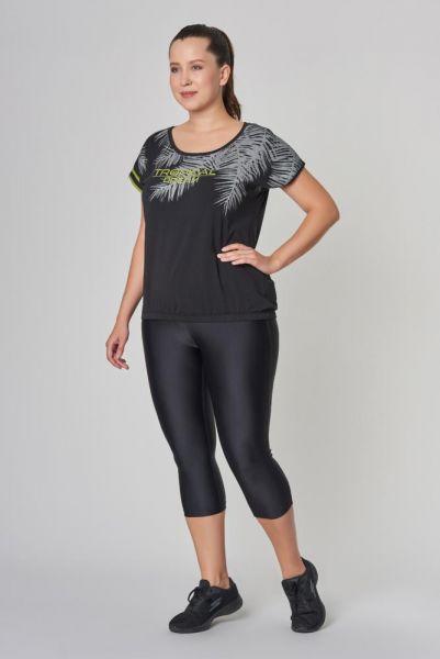 BİLCEE - Büyük Siyah Beden Pamuklu Kadın T-Shirt DW-2133 (1)