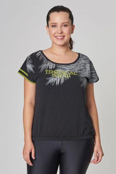 BİLCEE - Büyük Siyah Beden Pamuklu Kadın T-Shirt DW-2133