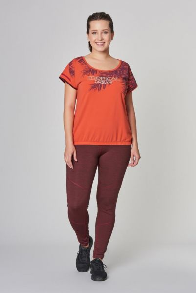BİLCEE - Büyük Turuncu Beden Pamuklu Kadın T-Shirt DW-2133 (1)