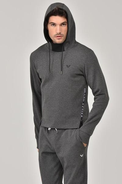 BİLCEE - Bilcee Antrasit Kapüşonlu Erkek Sweatshirt FW-1222