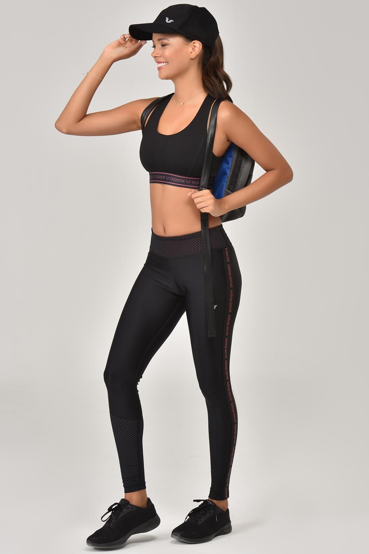 Bilcee Siyah Sporcu Kadın Tayt FW-1320 BİLCEE