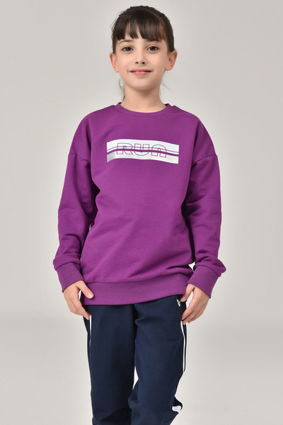 BİLCEE - Bilcee Mor Unisex Çocuk Sweatshirt FW-1482