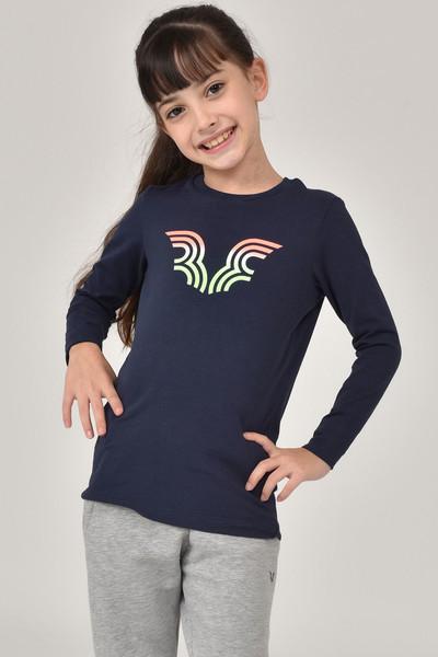 BİLCEE - Bilcee Lacivert Unisex Çocuk T-Shirt FW-1484
