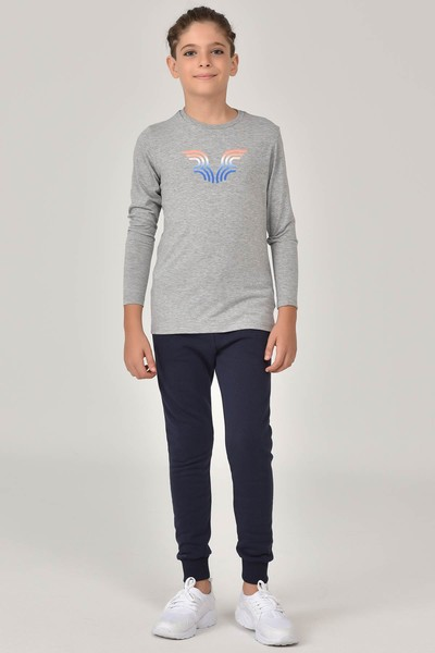 BİLCEE - Bilcee Gri Unisex Çocuk T-Shirt FW-1484 (1)