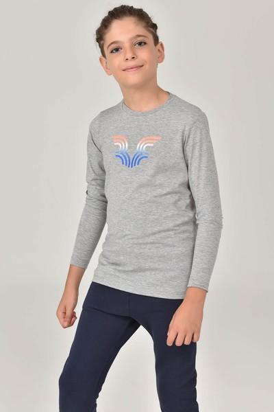 BİLCEE - Bilcee Gri Unisex Çocuk T-Shirt FW-1484