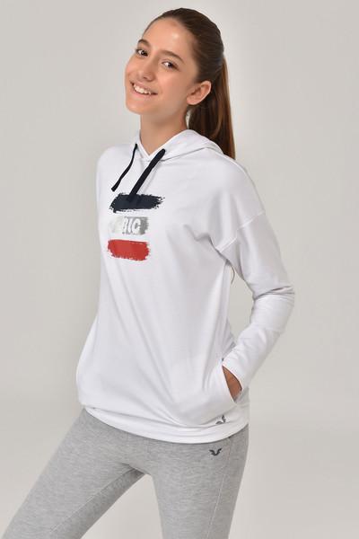 BİLCEE - Bilcee Beyaz Kız Çocuk Sweatshirt FW-1485