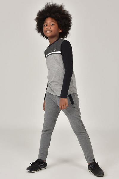 BİLCEE - Bilcee Gri Unisex Uzun Kol Çocuk T-Shirt FW-1487 (1)