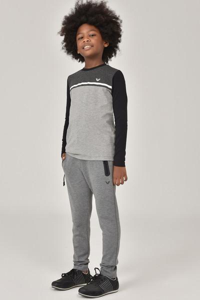 BİLCEE - Bilcee Gri Unisex Uzun Kol Çocuk T-Shirt FW-1487