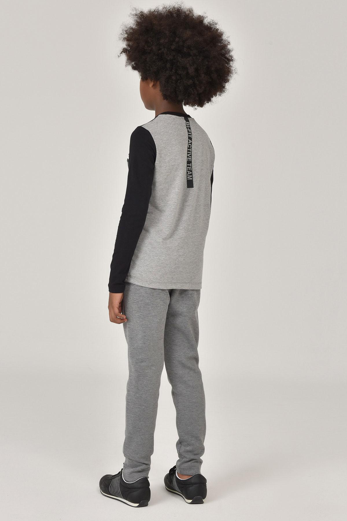 Bilcee Gri Unisex Uzun Kol Çocuk T-Shirt FW-1487 BİLCEE