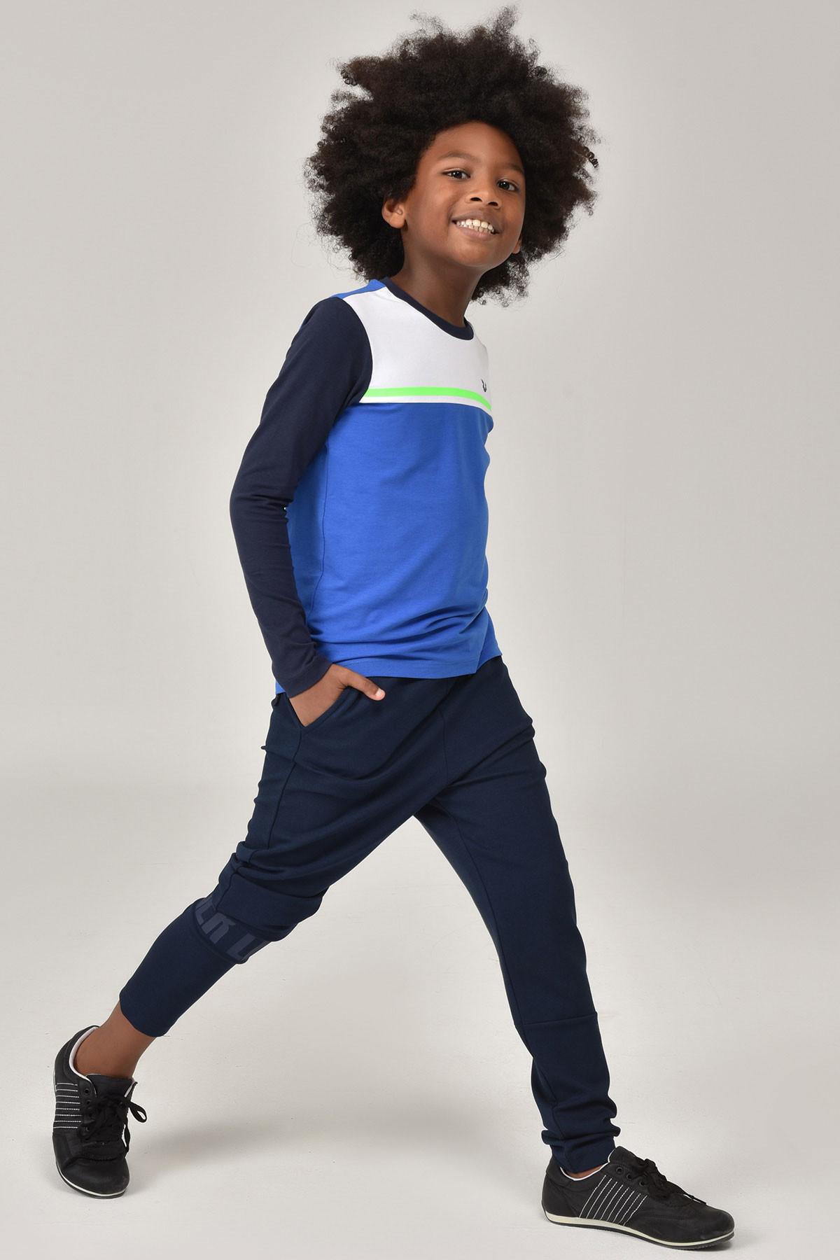 Bilcee Mavi Unisex Uzun Kol Çocuk T-Shirt FW-1487 BİLCEE