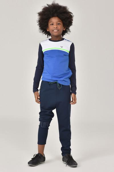 BİLCEE - Bilcee Mavi Unisex Uzun Kol Çocuk T-Shirt FW-1487