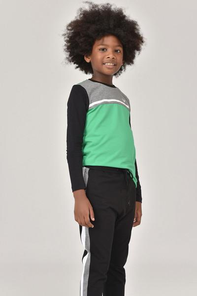 BİLCEE - Bilcee Yeşil Unisex Uzun Kol Çocuk T-Shirt FW-1487 (1)