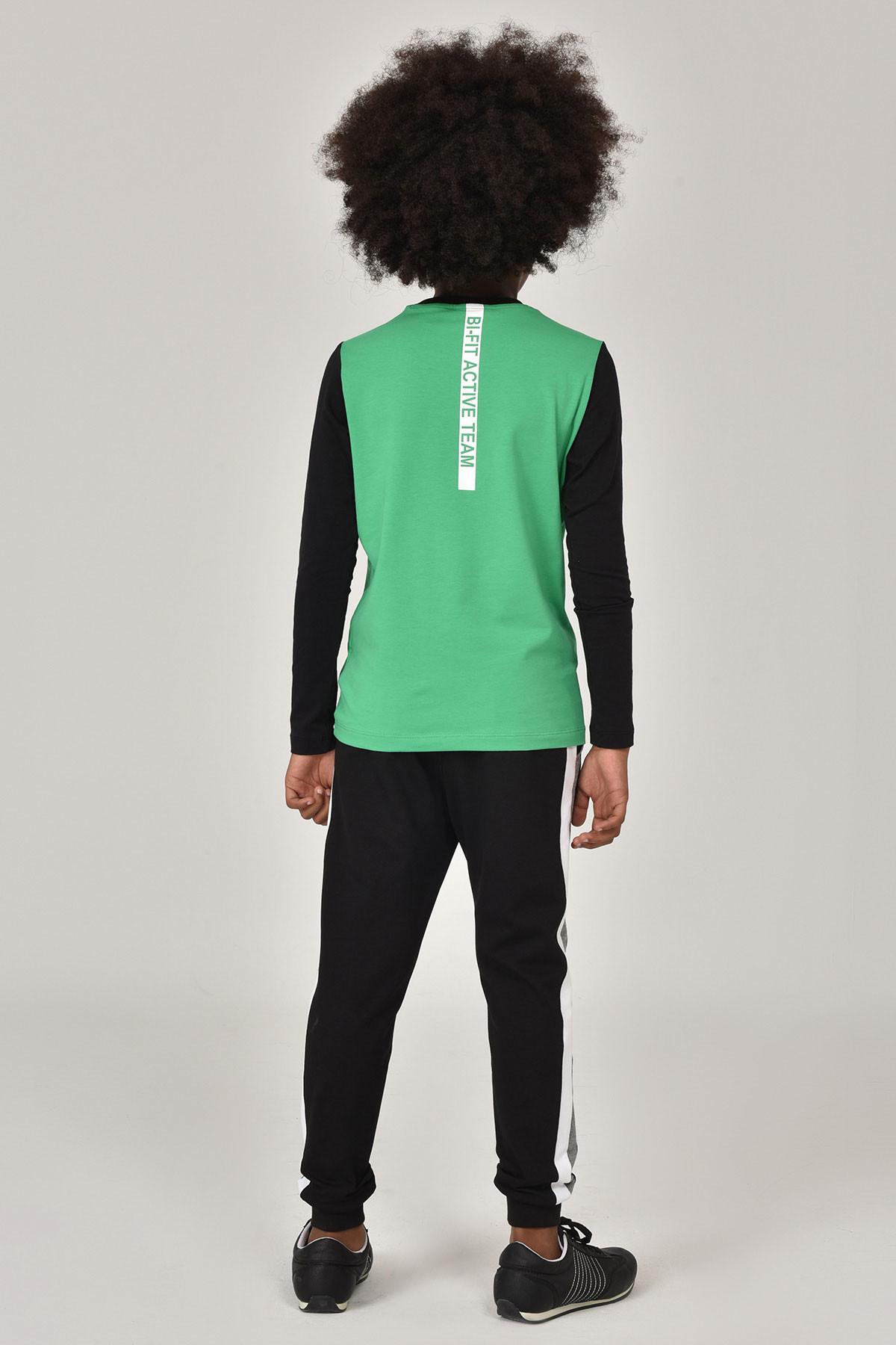 Bilcee Yeşil Unisex Uzun Kol Çocuk T-Shirt FW-1487 BİLCEE