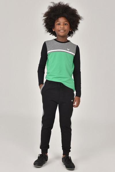 BİLCEE - Bilcee Yeşil Unisex Uzun Kol Çocuk T-Shirt FW-1487