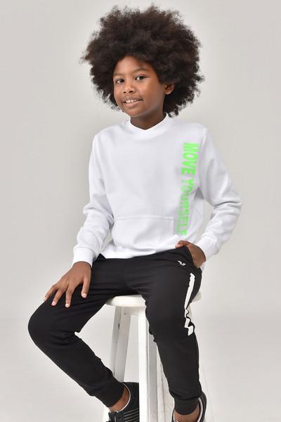 BİLCEE - Bilcee Beyaz Unisex Çocuk Sweatshirt FW -1490